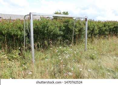 Overgrown football goal on the highest mountain of the rhone in Germany