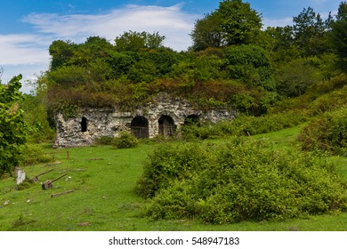 Overgrown ruins of ancient church VI-VII century, Abkhazia