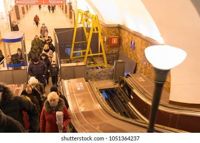 Overhaul of the escalator at the metro station Ploshchad Lenina .Russia, St. Petersburg, Metro station Ploshchad Lenina, March 8, 2018. EDITORIAL