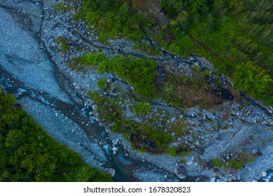overhead aerial view beautiful landscape scene rural village clean river surrounding by Rainforest jungle