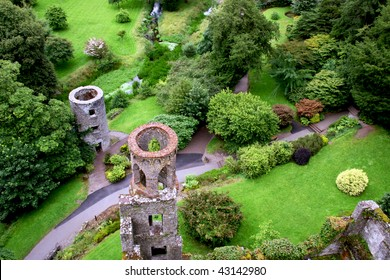 Overhead aerial view of Blarney castle's towers and park near Cork, Ireland