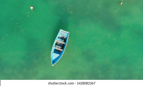 Overhead aerial view of boat.