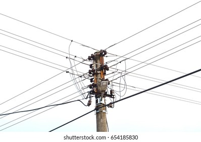 Overhead assorted cable pole.