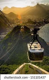 Overhead cable car approaching Sugarloaf Mountain, Rio De Janeiro, Brazil
