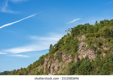 Overhead cable car in Italian Alps, Val di Fiemme, Cavalese, Cermis, Trentino Alto Adige, Italy, south Europe