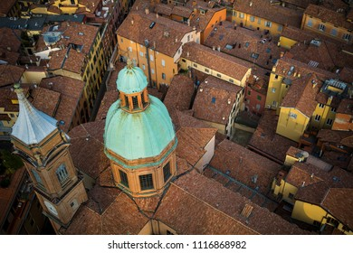 Overhead city view of Bologna in Italy