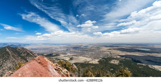 Overhead city view of downtown Boulder Colorado from the top of the Bear Peak