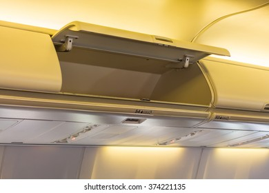 Overhead compartment in commercial aircraft.