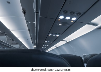 Overhead compartment of commercial airplane cabin