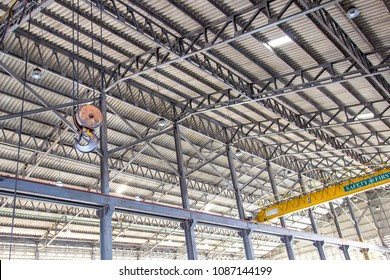 Overhead crane and hook in the factory for industrial concept hard work