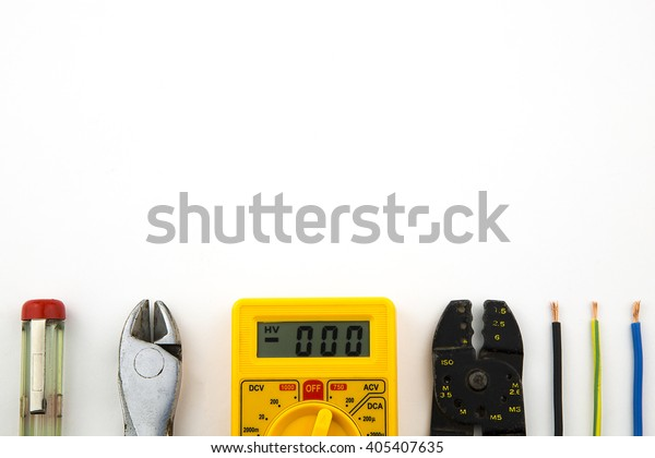 overhead of a electrician equipment / set electrician tools