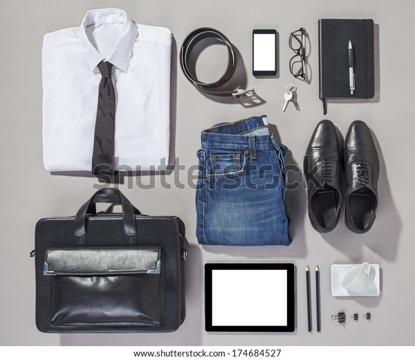 Overhead of essentials modern man. Outfit of business man.