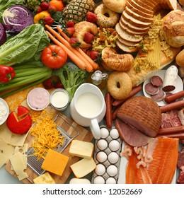 Overhead food background