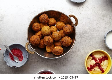 Overhead image of traditional jewish and middle eastern dish falafel. Israeli cuisine concept