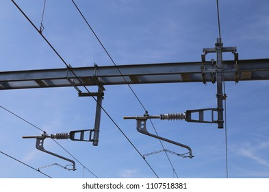 The overhead line electrification equipment to supply electric power to British trains.