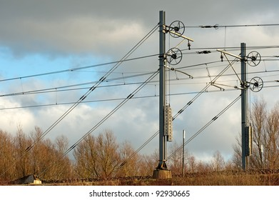 Overhead lines for trains in winter