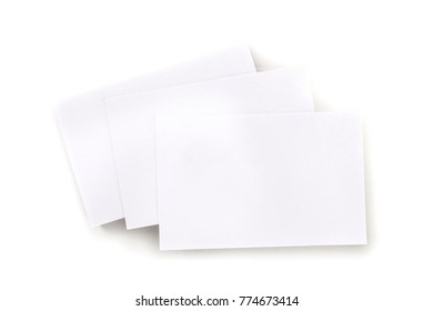 An overhead mockup of a blank white business card, shot from above on a white background, with a place for text