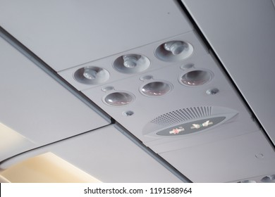 Overhead panel of an airbus aircraft with reading light, aircond and bell function