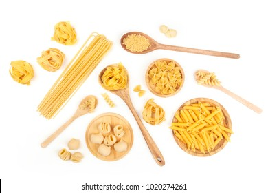 An overhead photo of different types of pasta, including spaghetti, penne, fusilli, and others, shot from above on a white background with a place for text