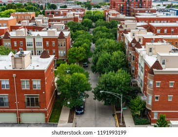 Overhead Residential Street View in Lincoln Park Chicago
