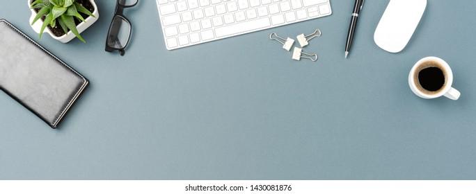 Overhead shot of business desktop with computer