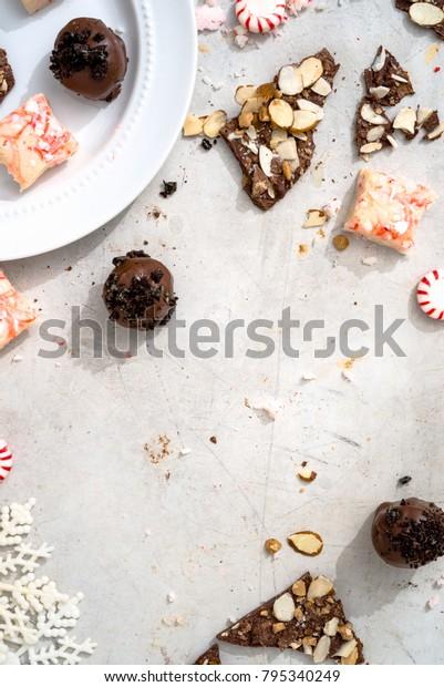 Overhead Shot Candy Cane Fudge Dark Stock Photo Edit Now 795340249