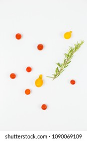 Overhead shot of cherry tomato concept with rosemary