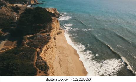 Overhead shot of the cliffs at Davenport California near Santa Cruz in early November