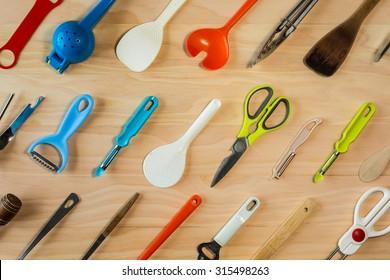 overhead shot image of kitchen equipments background