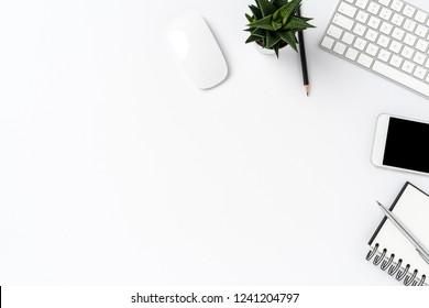 Overhead shot of modern office desktop