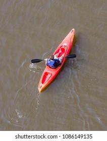 Overhead shot of People in kayaks on river