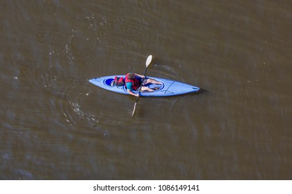Overhead shot of People in kayaks on river