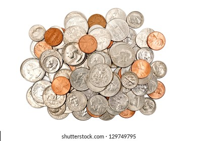 Overhead Shot of a Pile Of Coins/ Isolated On White, Horizontal Shot