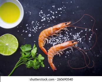 Overhead shot of shrimps