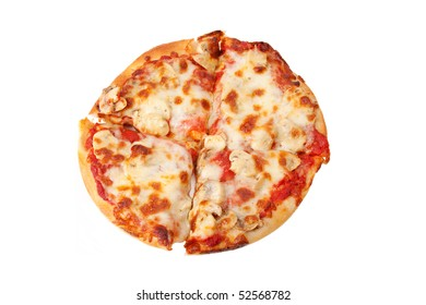 An overhead shot of a small, personal-sized mushroom pizza, sliced into four pieces. Isolated with clipping path.