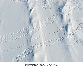 Overhead shot of snow drifts and people tracks on Dow's Lake, Ottawa.  Kite Aerial Photography.