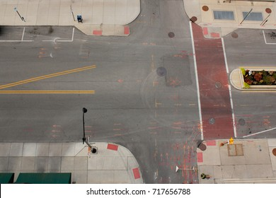 Overhead street view of a construction site