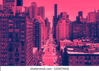 Overhead street view of First Avenue in Manhattan New York City with pink and blue color effect