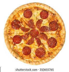 Overhead studio shot of isolated Pepperoni pizza beautiful arrangement