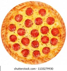 Overhead studio shot of pepperoni pizza isolated on white