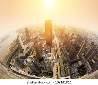 Overhead of the sunset over the city