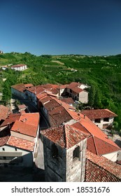 Overhead view of Albaretto della Torre, Italy. A small, traditional town in Piedmont region.