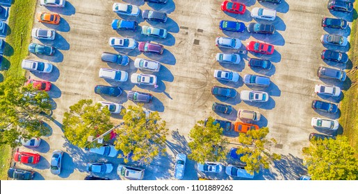 Overhead view of big car parking.