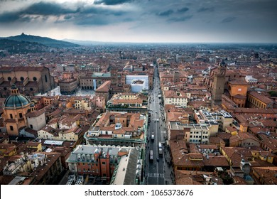 Overhead view of Bologna in Northern Italy