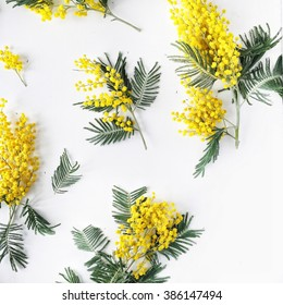 Overhead view of bouquet of yellow mimosa pattern isolated on white background. Flat lay, top view. acacia