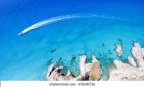 Overhead view of Capo Vaticano coastline, Calabria - Italy.