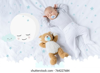 overhead view of cute baby with pacifier sleeping on bed with teddy bear with cute moon illustration