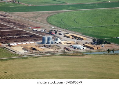 An overhead view of a dairy farm