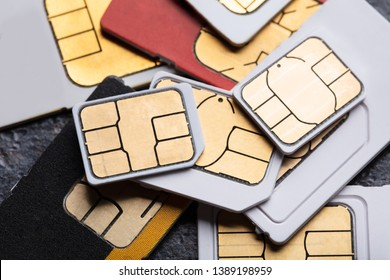 An Overhead View Of Different Mini And Micro Sim Cards