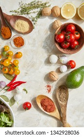 Overhead view of different types of vegetables and spices